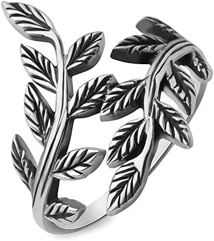 925 Oxidized Sterling Silver Filigree Bay Ivy Leaves Leaf Vine Vintage Design Ring Women Jewelry